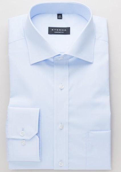 Eterna Hemd COMFORT FIT UNI POPELINE hellblau mit Classic Kent Kragen in klassischer Schnittform