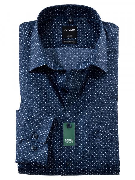 Olymp Hemd MODERN FIT UNI POPELINE dunkelblau mit New Kent Kragen in moderner Schnittform