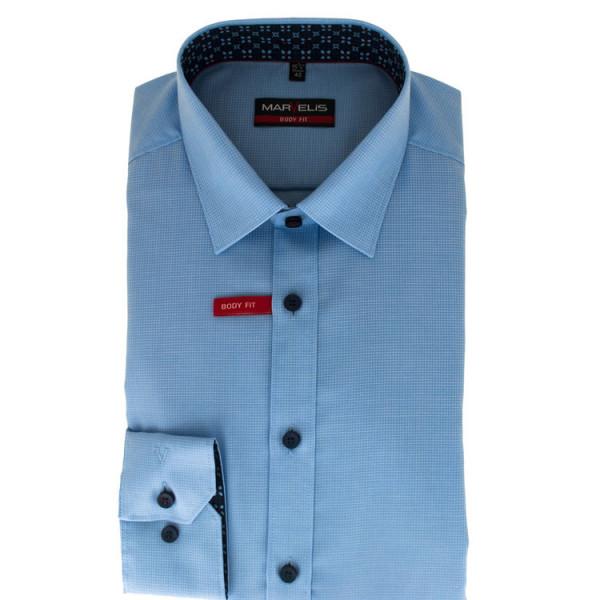 Marvelis Hemd BODY FIT STRUKTUR hellblau mit New York Kent Kragen in schmaler Schnittform
