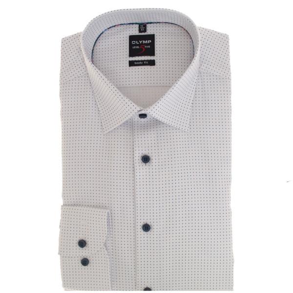 OLYMP Level Five body fit Hemd PRINT weiss mit Global Kent Kragen in schmaler Schnittform