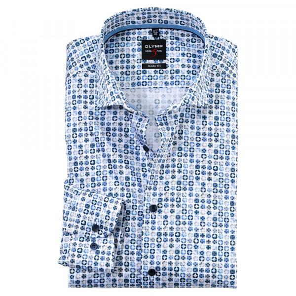 OLYMP Level Five body fit Hemd UNI POPELINE hellblau mit Royal Kent Kragen in schmaler Schnittform