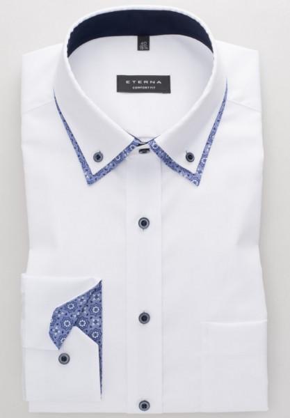 Eterna Hemd COMFORT FIT FEIN OXFORD weiss mit Doppel Button Down Kragen in klassischer Schnittform