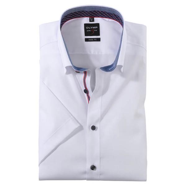 OLYMP Level Five body fit Hemd UNI POPELINE weiss mit Under Button Down Kragen in schmaler Schnittform