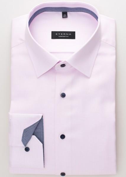 Eterna Hemd COMFORT FIT TWILL STREIFEN rosa mit Classic Kent Kragen in klassischer Schnittform