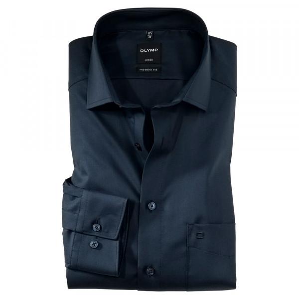 OLYMP Luxor modern fit Hemd TWILL dunkelblau mit Global Kent Kragen in moderner Schnittform