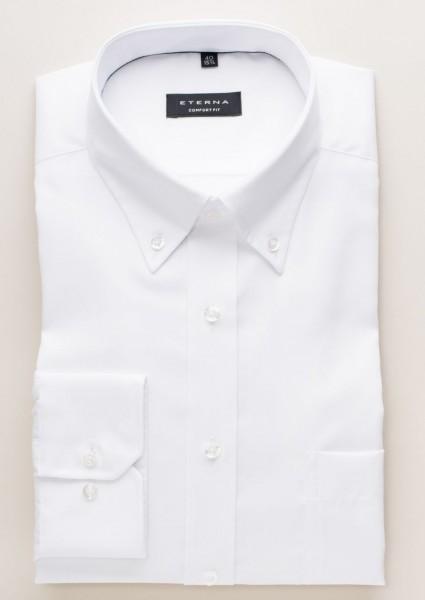 Eterna Hemd COMFORT FIT FEIN OXFORD weiss mit Button Down Kragen in klassischer Schnittform