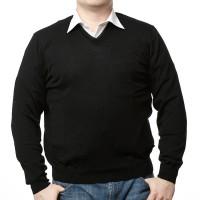 Olymp Pullover in schwarz mit V-Ausschnitt