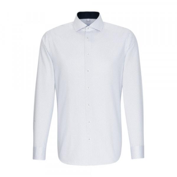 Seidensticker Hemd SHAPED PRINT weiss mit Spread Kent Kragen in moderner Schnittform