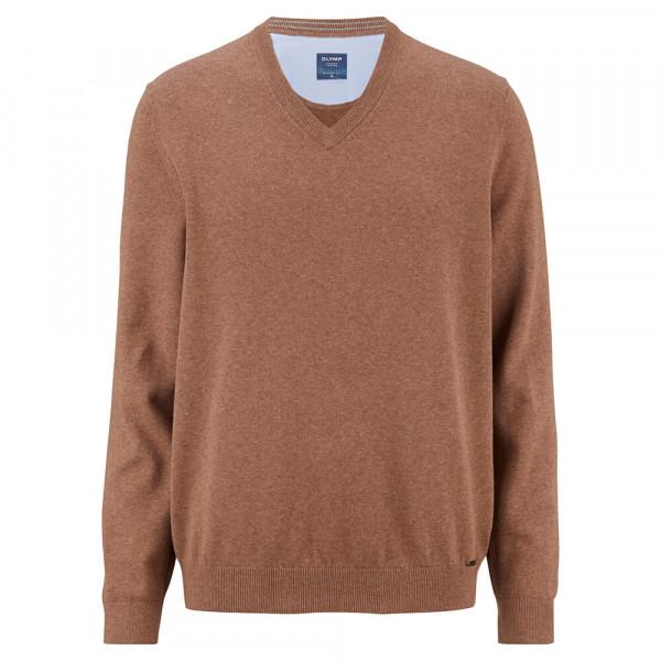 OLYMP Strick modern fit Pullover hellbraun in moderner Schnittform