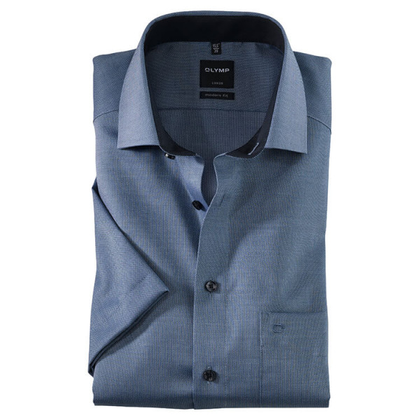OLYMP Luxor modern fit Hemd FAUX UNI dunkelblau mit Global Kent Kragen in moderner Schnittform